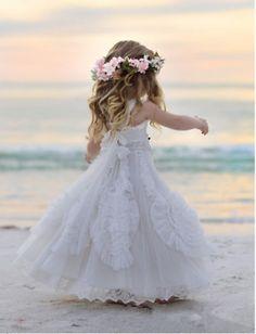 c778e627448 White Lace Boho Flower Girl Dress Beach Wedding Princess Pageant Birthday  Gowns Kids Formal Wear