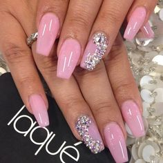 Pink coffin claws with bling!!❤️❤️❤️