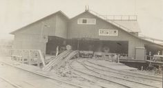 Front end of mill of Union Lumber Company, Fort Bragg, California. Note endless chain log haul-up from pond. Note also that log cars can be unloaded directly to log deck. Lumber Mill, Logging Equipment, Fort Bragg, Steam Engine, Vintage Photography, Pond, Trains, Deck, Journey