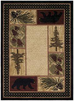 Rustic Lodge Black Bear 8 Round Area Rug 7 10x7 10