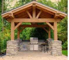 Timber Frame Gazebo With Built In BBQ Grill