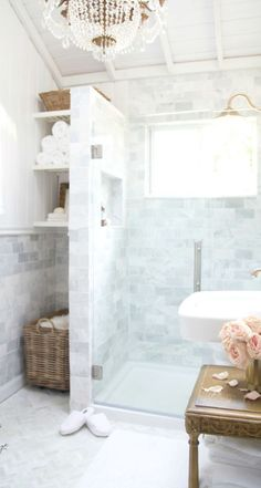 French Cottage Bathroom Inspiration round-up. A great way to get your creative juices flowing before you dive into your own space makeover! French Country Kitchens, French Country Bedrooms, French Country Cottage, French Country Decorating, Country Bathrooms, Modern Country, Country Style, French Country Bathroom Ideas, French Bathroom Decor