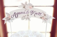 small wooden banner delicately painted with newlyweds names for cake topper - thereddirtbride.com - see more of this wedding here Rustic Cake Toppers, Rustic Elegance, Newlyweds, Wedding Things, Wedding Decorations, Banner, Names, Place Card Holders, Elegant