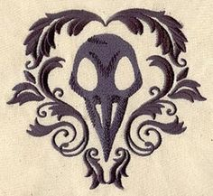 Raven Bird Skull Embroidered Flour Sack by EmbroideryEverywhere, $13.99