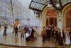 Jean Béraud - Le boulevard des Capucines et le théâtre du Vaudeville