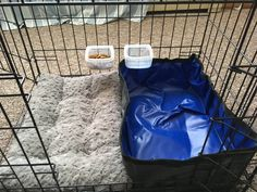 """Intended for my upcoming long car ride with two cats. One for each cat, all from Amazon: 18""""x24"""" double door cage, with 18""""x12"""" bed and 18""""x12"""" waterproof soft-sided travel litter pan. Spill-resistant food bowls hooked on the cage sides."""