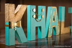"""Little Prince, Teal and Gold Letters, Photo Prop, Centerpiece, 8"""" Freestanding Letter, Custom Block Letter, Baby Boy Shower, 1st Birthday"""