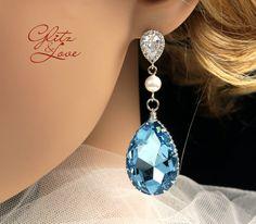 Chandelier Bridal Earrings, Wedding Jewelry, Swarovski Crystal Drop Earrings, Bridal Earrings, Something blue, aquamarine crystal, www.glitzandlove.com, by GlitzAndLove, $45.00