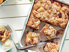 Blackberry-Peach Cobbler Bars   Toffee-glazed pecan pieces add a streusel-like crunch to the tops of these Blackberry-Peach Cobbler Bars.