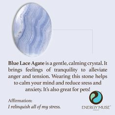 Blue Lace Agate is a gently and calming crystal. Wearing this stone helps to calm your mind and reduce stress and anxiety. It is also great for calming pets! #bluelaceagate #stress #healing #crystals