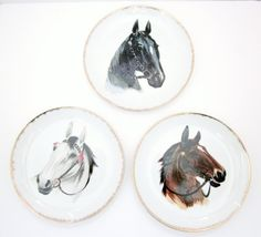 Vintage Collector Horse Plates Set Of Three by jarmfarm on Etsy, $9.99  --I still have the bottom two!! ~LLM