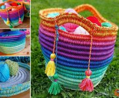 Rainbow Ropey Crochet Bag Free Pattern ~ k8~
