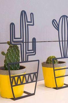 Metal art cactus sta...