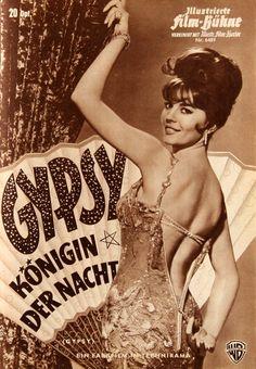 Gypsy (1962) starring Natalie Wood, Rosalind Russell & Karl Malden — German program cover