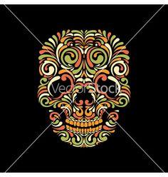 Ornate skull vector - by hoverfly on VectorStock®