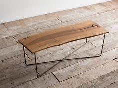 Tavolino in legno di noce e ferro ossidato Delamont (NX2)