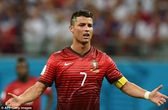 Despair: Cristiano Ronaldo looks upset during Portugal's elimination at the 2014 World Cup in Brazil. Loveeeee