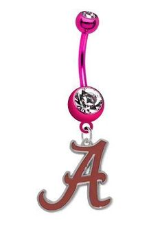 Alabama Crimson Tide PREMIUM Pink Titanium Anodized Sexy Belly Button Navel Ring CustomCharms, http://www.amazon.com/dp/B009PV5Y6A/ref=cm_sw_r_pi_dp_dVwBrb1G3GX5D