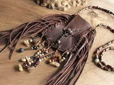 Wisdom Keeper - tribal leather necklace pouch/Medicine Bag Love it! Leather Necklace, Beaded Necklace, Beaded Bracelets, Necklaces, Leather Pouch, Leather Purses, Leather Bags, Tribal Jewelry, Boho Jewelry