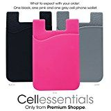 Cell Phone Wallet by Cellessentials: (For Credit Card & Id) | Works with almost every phone | Iphone, Android & Most Smartphones | 3 Pc Pack - Black, Grey & Pink
