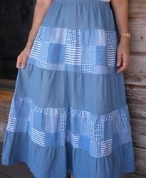 Five tiered patchwork long skirt from Classic Clothing Store Modest Dresses, Modest Outfits, Modest Fashion, Fashion Outfits, Denim Maxi, Denim Skirt, Modest Apparel, Modest Clothing, School Dresses