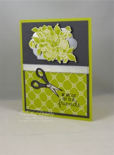 Blog Post Date:  September 13, 2017.  Scissors are at the heart of paper crafting. This card incorporates my love of paper crafting in a friendship note. Elements of this card include: Crafting Forever stamp set, Fresh Florals Designer Series Paper Stack, Silver Foil Sheets, Silver Metallic Edge ribbon, Lots of Labels Framelits for the Big Shot, and the colors of Basic Gray, Lemon Lime Twist, Whisper White, and Silver.
