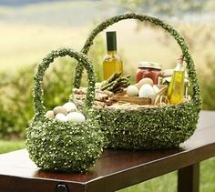 """Greenvine Baskets #potterybarn..special $15.50 – $47.00  New Free Shipping ..    Fill our vibrant green basket with Easter eggs, candies or decorative objects.        Small:  7.5"""" diameter, 11.5"""" high      Large:  16"""" diameter, 16.5"""" high      Woven of natural twigs with faux leaves and vines over a sturdy wire frame.      Branches shown in basket are sold separately."""