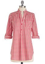 Bonfire Stories Top in Red Gingham | Mod Retro Vintage Short Sleeve Shirts | ModCloth.com