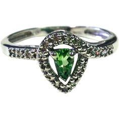 Pear Cut Tsavorite Garnet Ring with round Diamonds and 10K White Gold -- Green Ring -- Yes Please!