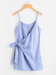 Vestido de rayas con detalle de cordones-Spanish SheIn(Sheinside)