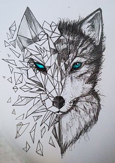 Discover thousands of images about nice Geometric Tattoo - geometric wolf tattoos: Yandex. Animal Drawings, Cool Drawings, Drawing Sketches, Beautiful Drawings, Drawing Animals, Drawing Stuff, Sketch Art, Drawing Ideas, Sketching