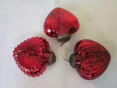 "VINTAGE KUGEL STYLE RED MERCURY GLASS HEARTH SHAPE 3"" CHRISTMAS ORNAMENTS SET 3"