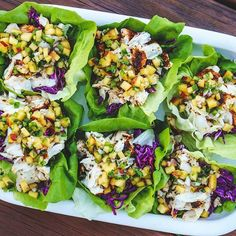 """Ok so maybe it's not officially """" #TacoTuesday """" on #Whole30 but how about #LettuceCupTuesday?   These grilled halibut lettuce cups with red cabbage slaw and peach salsa are so satisfying. You can convert any #fishtaco recipe, just use bibb or butter lettuce instead of tortillas!  I didn't use a structured recipe for this, but no measurements are needed really. Have fun and make it your own! --@thekitchenista  Instructions: - To prepare peach salsa, combine diced firm peaches, diced…"""