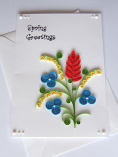 Quilled Spring Greeting Card by vaidaaa on Etsy Paper Quilling Flowers, Paper Quilling Cards, Origami And Quilling, Quilled Paper Art, Paper Quilling Designs, Quilling Paper Craft, Quilling Patterns, Quiling Paper, Paper Crafts