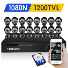 DEFEWAY 1200TVL 720P HD Outdoor CCTV Security Camera System 1080N Home Video Surveillance DVR Kit 2TB 16 CH 1080P HDMI Output #jewelry, #women, #men, #hats, #watches, #belts, #fashion