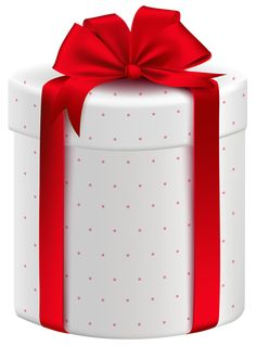 White Gift Box with Red Bow PNG Clipart Image