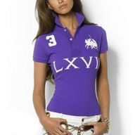 Ralph Lauren Big Polo LXVII Purple Breathable Women Short Sleeve!$34.35