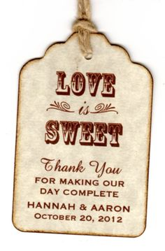 50 Wedding Favor Gift Tags / Place Cards / Escort Tags / Thank You Tags / Shower Tags / Love Is Sweet / Honey Jar Labels - Vintage Sepia via Etsy Rustic Wedding Favors, Beach Wedding Favors, Wedding Favor Tags, Wedding Gifts, Wedding Decorations, Wedding Ideas, Wedding Stuff, Honey Jar Labels, Jam Jar Labels