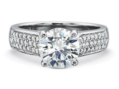 Precision Set FlushFit 5MM Half Round Engagement Ring with Tapered Three Row Diamond Pave Shank style#7843