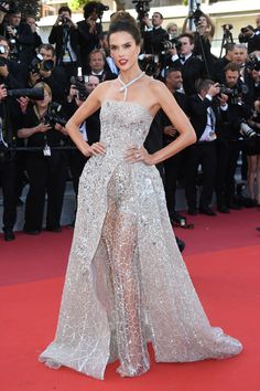 20 May Alessandra Ambrosio glittered in an embellished silver gown with sheer underlay, paired with a striking Bulgari Serpenti necklace. - HarpersBAZAAR.co.uk