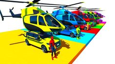 Learn colors with helicopters on suvs cars spiderman cartoon for toddlers