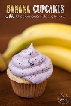 Banana Cupcakes with Blueberry Cream Cheese Frosting. #dan330 http://livedan330.com/2015/07/31/banana-cupcakes/