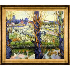 La Pastiche Vincent Van Gogh 'Orchard in Bloom with Poplars' Hand Painted Framed Canvas Art