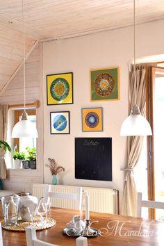 Scandinavian style, MaMandala, metal candlestick, picture, blackboard, glass lamp, boho living, kitchen, wood
