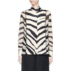 Lanvin Satin front zebra print chiffon shirt (48,430 THB) ❤ liked on Polyvore featuring tops, blouses, animal print, holiday blouses, transparent shirt, satin shirt, evening blouses and transparent blouse