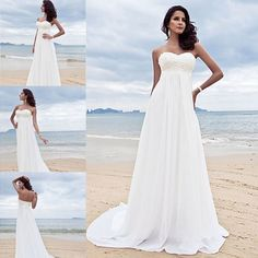 Strapless Empire Beach Wedding Dresses Bride Dresses UK 2 4 6 8 10 12 Plus Size