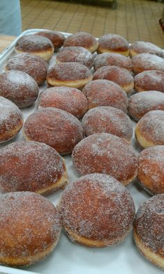"""Berliner - a traditional German doughnut. As JFK famously announced on a visit to West Berlin """"I am a jelly doughnut! German Desserts, Just Desserts, Dessert Recipes, Donut Recipes, Cooking Recipes, Easy German Recipes, German Cake, German Bread, German Baking"""