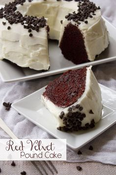 This gorgeous cake starts with a cake mix - no one would guess! Filled with miniature chocolate chips and topped with homemade cream cheese frosting, this is a great dessert for Valentine's Day or any day!