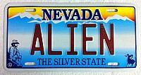Alien, Nevada license plate