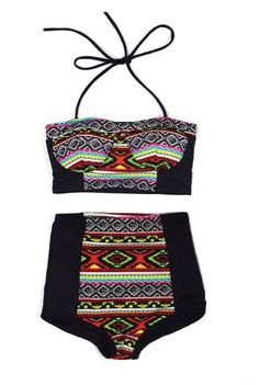 Black Aztec Tribal Tribute Top and Retro Vintage High Waist Waisted Shorts Bottom Bikinis set Two-piece 2 PC Swimwear Bathing suit S M